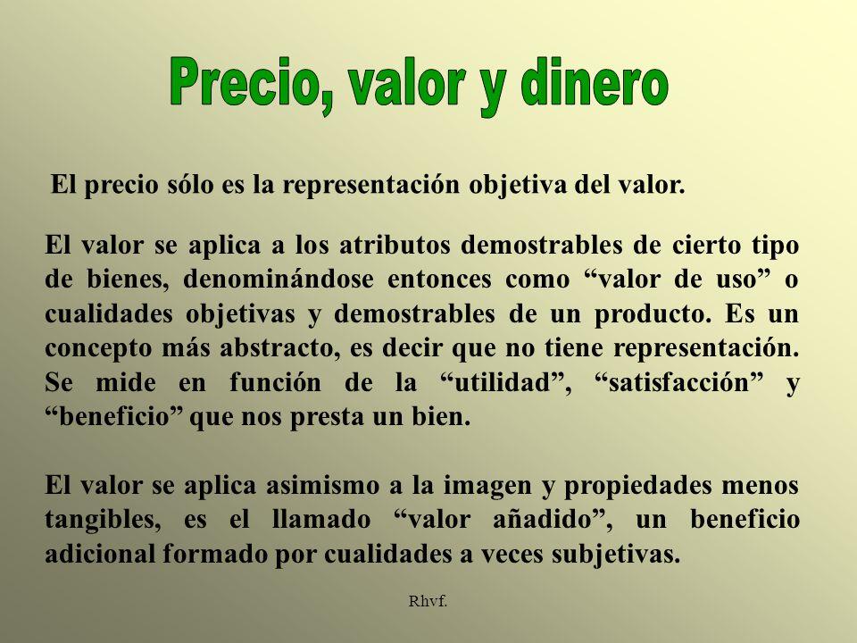 Rhvf. El precio sólo es la representación objetiva del valor. El valor se aplica a los atributos demostrables de cierto tipo de bienes, denominándose