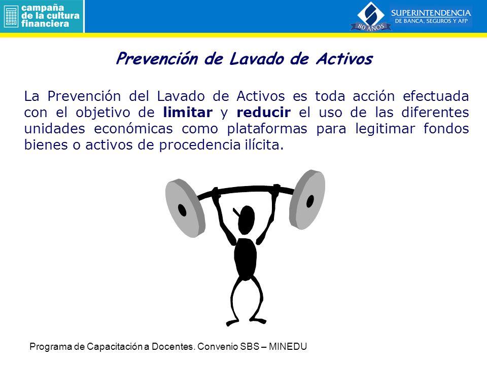 Prevención de Lavado de Activos La Prevención del Lavado de Activos es toda acción efectuada con el objetivo de limitar y reducir el uso de las difere