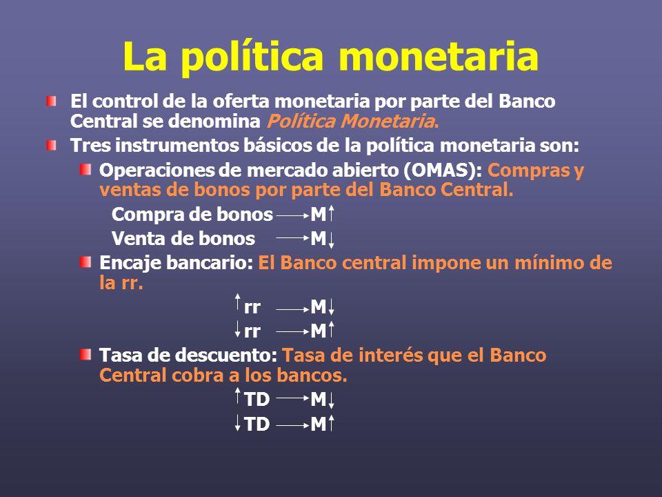 La política monetaria El control de la oferta monetaria por parte del Banco Central se denomina Política Monetaria.