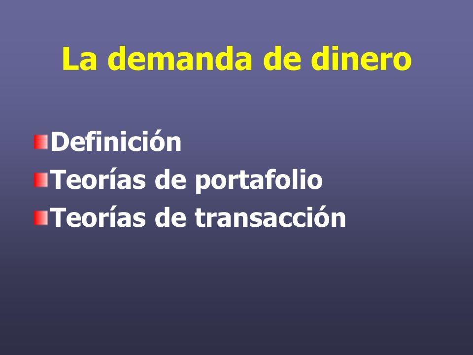 La demanda de dinero Definición Teorías de portafolio Teorías de transacción