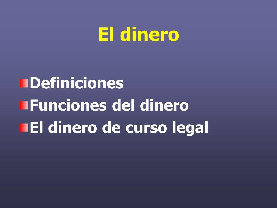 El dinero Definiciones Funciones del dinero El dinero de curso legal