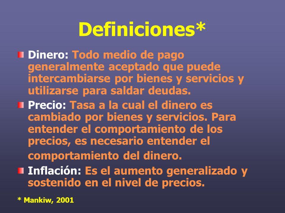 Definiciones* Dinero: Todo medio de pago generalmente aceptado que puede intercambiarse por bienes y servicios y utilizarse para saldar deudas.