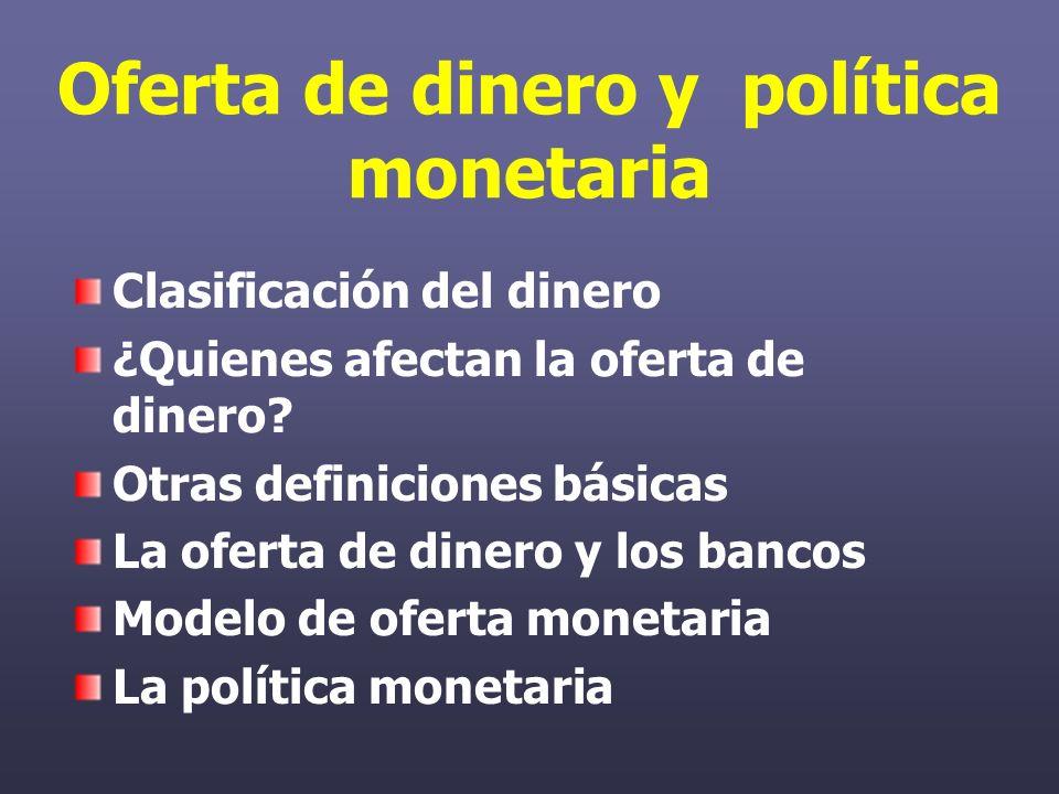 Oferta de dinero y política monetaria Clasificación del dinero ¿Quienes afectan la oferta de dinero.