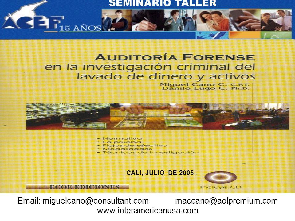 CALI, JULIO DE 2005 SEMINARIO TALLER Email: miguelcano@consultant.com maccano@aolpremium.com www.interamericanusa.com