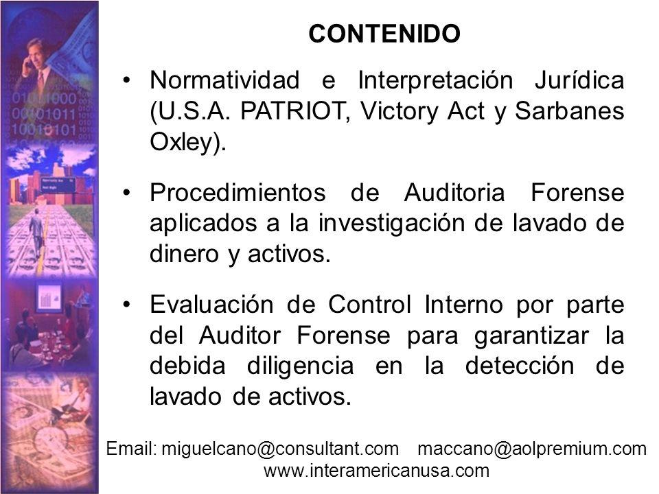 CONTENIDO Modalidades de lavado de activos y su investigación mediante la Auditoria Forense.
