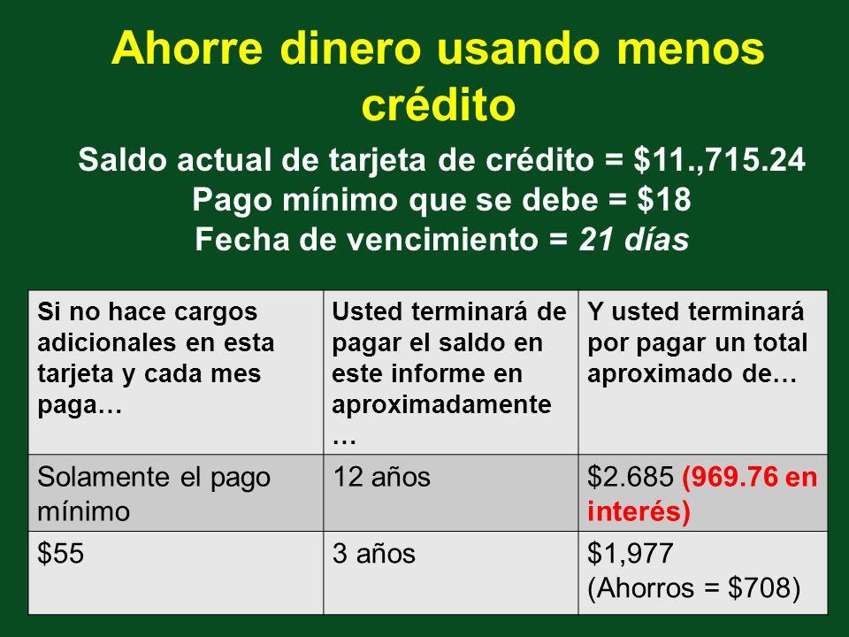 Ahorre dinero usando menos crédito Saldo actual de tarjeta de crédito = $11.,715.24 Pago mínimo que se debe = $18 Fecha de vencimiento = 21 días Si no hace cargos adicionales en esta tarjeta y cada mes paga… Usted terminará de pagar el saldo en este informe en aproximadamente … Y usted terminará por pagar un total aproximado de… Solamente el pago mínimo 12 años$2.685 (969.76 en interés) $553 años$1,977 (Ahorros = $708)