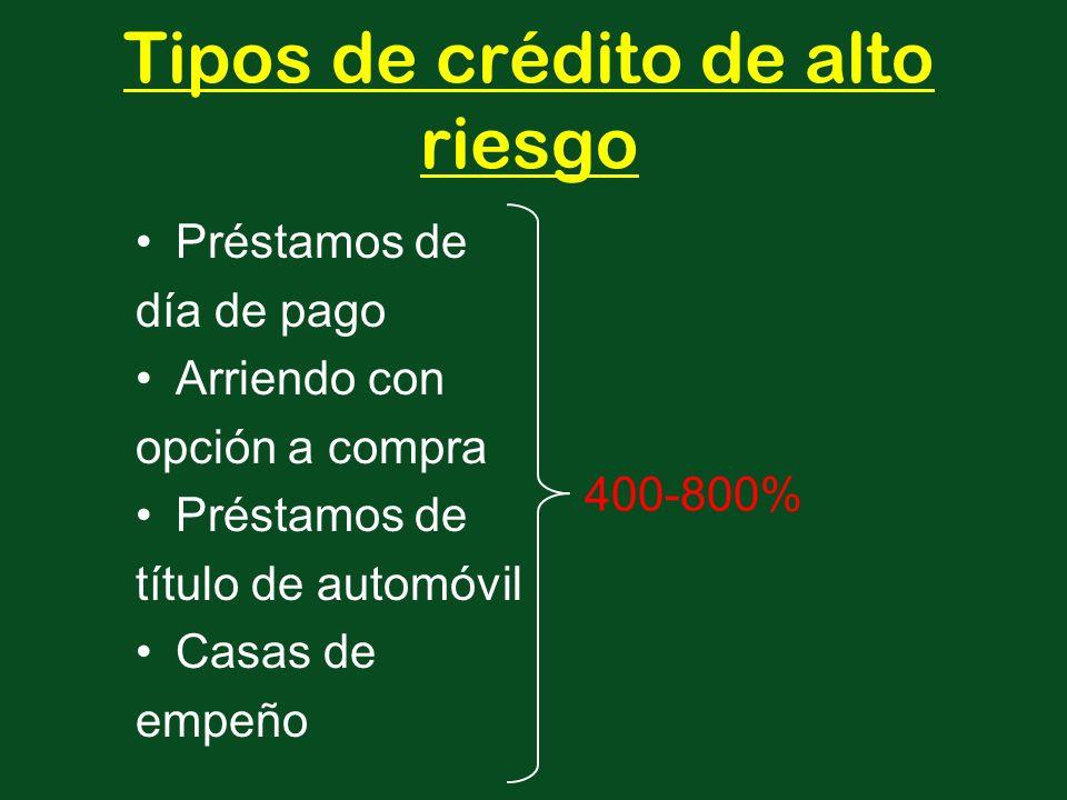 Préstamos de día de pago Arriendo con opción a compra Préstamos de título de automóvil Casas de empeño 400-800% Tipos de crédito de alto riesgo