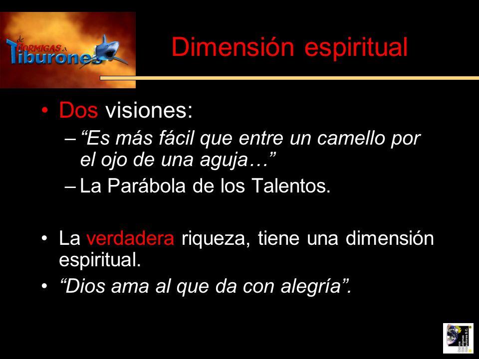 Dimensión espiritual Dos visiones: –Es más fácil que entre un camello por el ojo de una aguja… –La Parábola de los Talentos. La verdadera riqueza, tie