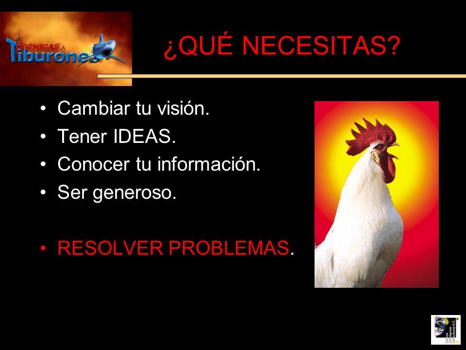¿QUÉ NECESITAS? Cambiar tu visión. Tener IDEAS. Conocer tu información. Ser generoso. RESOLVER PROBLEMAS.