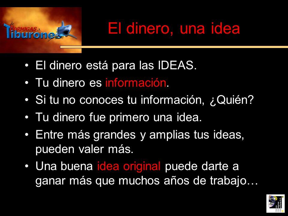 El dinero, una idea El dinero está para las IDEAS. Tu dinero es información. Si tu no conoces tu información, ¿Quién? Tu dinero fue primero una idea.