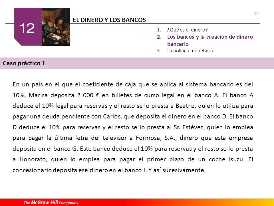 EL DINERO Y LOS BANCOS 14 1.¿Qué es el dinero? 2.Los bancos y la creación de dinero bancario 3.La política monetaria Caso práctico 1 En un país en el