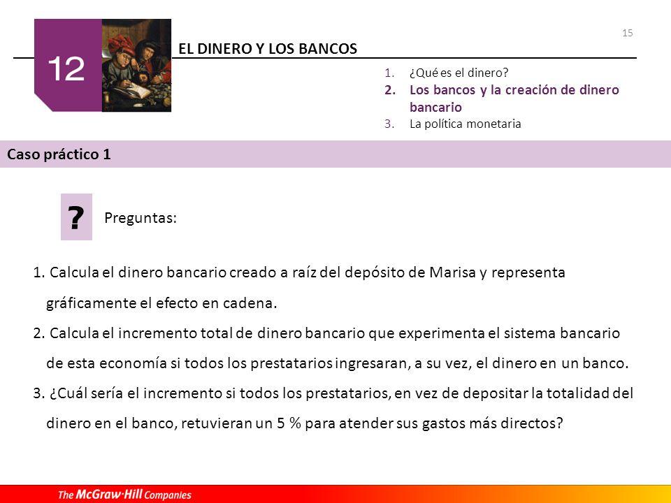 EL DINERO Y LOS BANCOS 15 1. Calcula el dinero bancario creado a raíz del depósito de Marisa y representa gráficamente el efecto en cadena. 2. Calcula