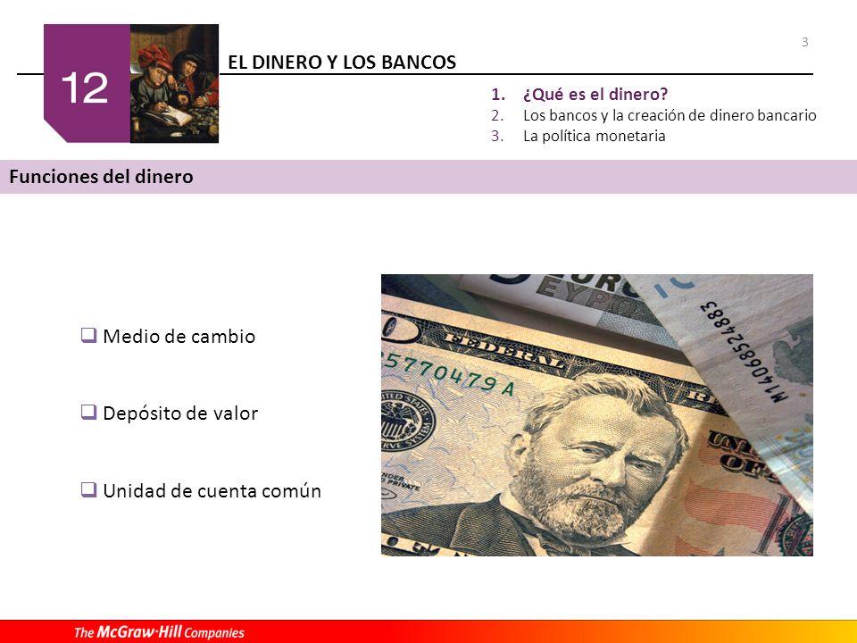 EL DINERO Y LOS BANCOS 3 1.¿Qué es el dinero? 2.Los bancos y la creación de dinero bancario 3.La política monetaria Funciones del dinero Medio de camb