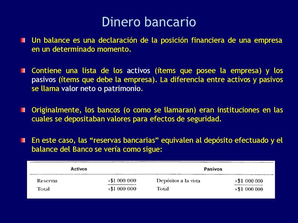 Dinero bancario Un balance es una declaración de la posición financiera de una empresa en un determinado momento. Contiene una lista de los activos (í