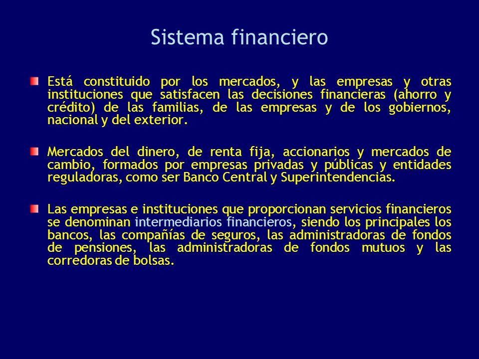 Sistema financiero Está constituido por los mercados, y las empresas y otras instituciones que satisfacen las decisiones financieras (ahorro y crédito) de las familias, de las empresas y de los gobiernos, nacional y del exterior.