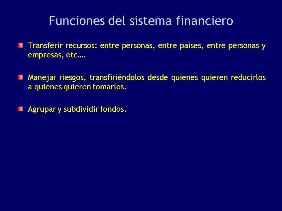 Funciones del sistema financiero Transferir recursos: entre personas, entre países, entre personas y empresas, etc…. Manejar riesgos, transfiriéndolos