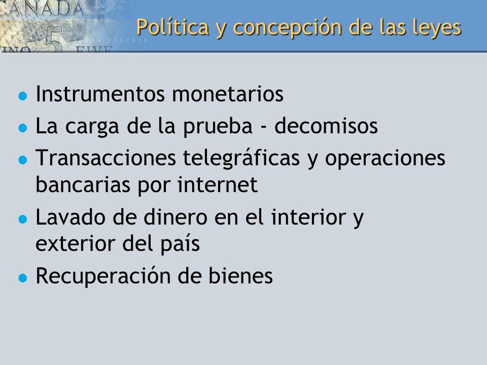 Política y concepción de las leyes Instrumentos monetarios La carga de la prueba - decomisos Transacciones telegráficas y operaciones bancarias por in