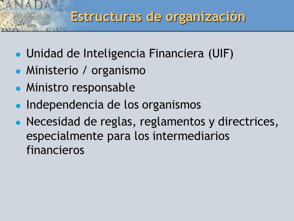 Estructuras de organización Unidad de Inteligencia Financiera (UIF) Ministerio / organismo Ministro responsable Independencia de los organismos Necesi