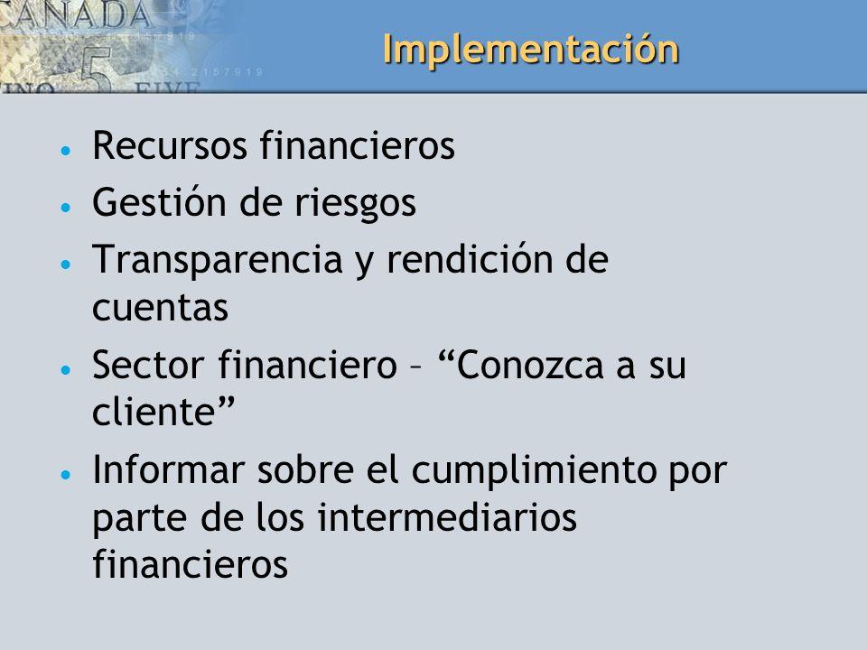 Implementación Recursos financieros Gestión de riesgos Transparencia y rendición de cuentas Sector financiero – Conozca a su cliente Informar sobre el