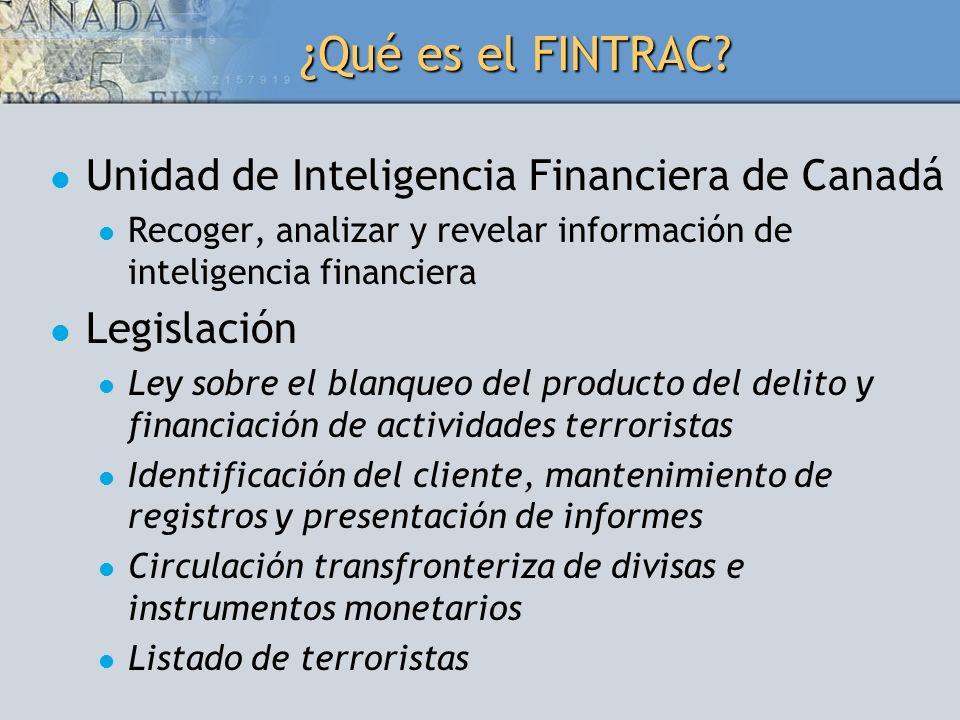 ¿Qué es el FINTRAC? Unidad de Inteligencia Financiera de Canadá Recoger, analizar y revelar información de inteligencia financiera Legislación Ley sob