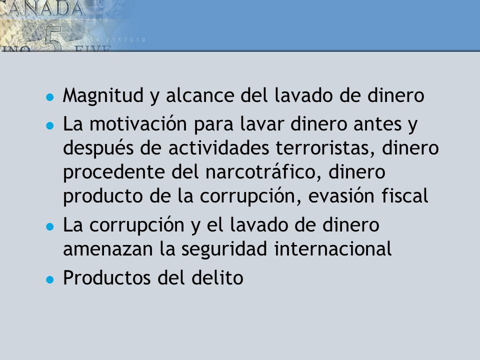 Magnitud y alcance del lavado de dinero La motivación para lavar dinero antes y después de actividades terroristas, dinero procedente del narcotráfico