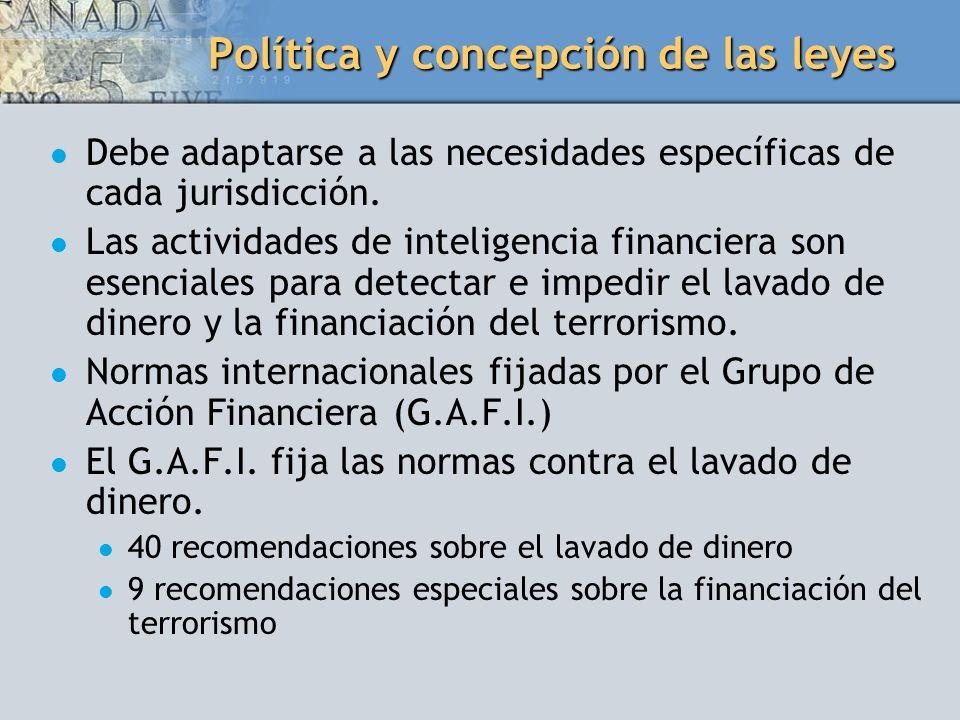 Política y concepción de las leyes Debe adaptarse a las necesidades específicas de cada jurisdicción. Las actividades de inteligencia financiera son e