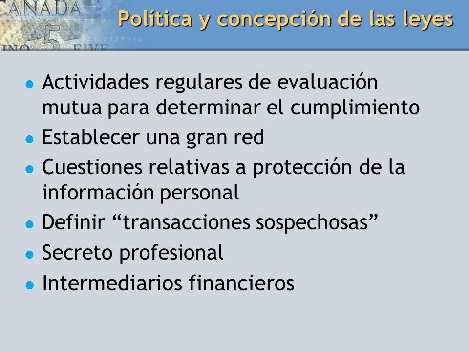 Política y concepción de las leyes Actividades regulares de evaluación mutua para determinar el cumplimiento Establecer una gran red Cuestiones relati