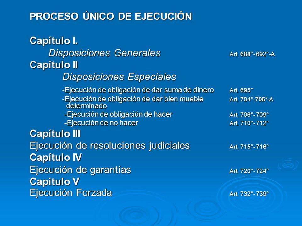 PROCESO ÚNICO DE EJECUCIÓN Capítulo I. Disposiciones Generales Art. 688°- 692°-A Capítulo II Disposiciones Especiales Disposiciones Especiales -Ejecuc