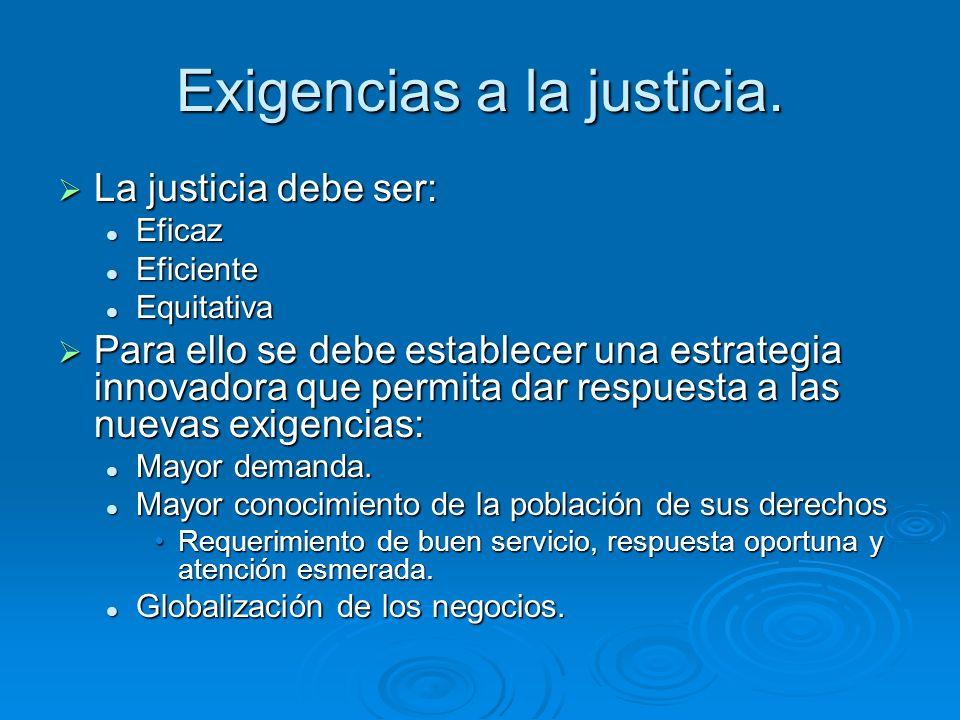Exigencias a la justicia. La justicia debe ser: La justicia debe ser: Eficaz Eficaz Eficiente Eficiente Equitativa Equitativa Para ello se debe establ