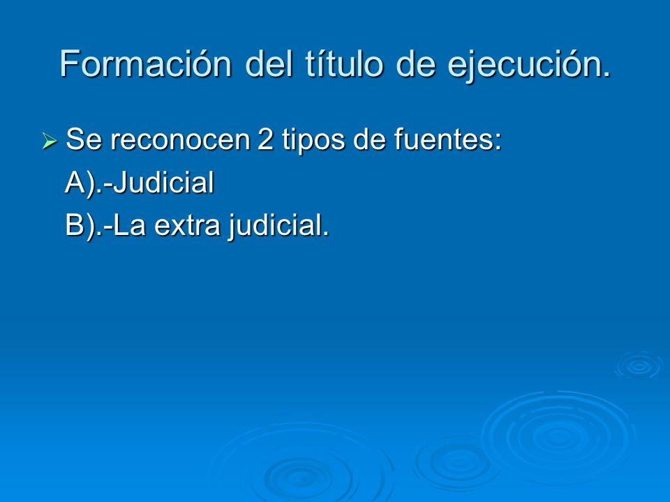Formación del título de ejecución. Se reconocen 2 tipos de fuentes: Se reconocen 2 tipos de fuentes: A).-Judicial A).-Judicial B).-La extra judicial.