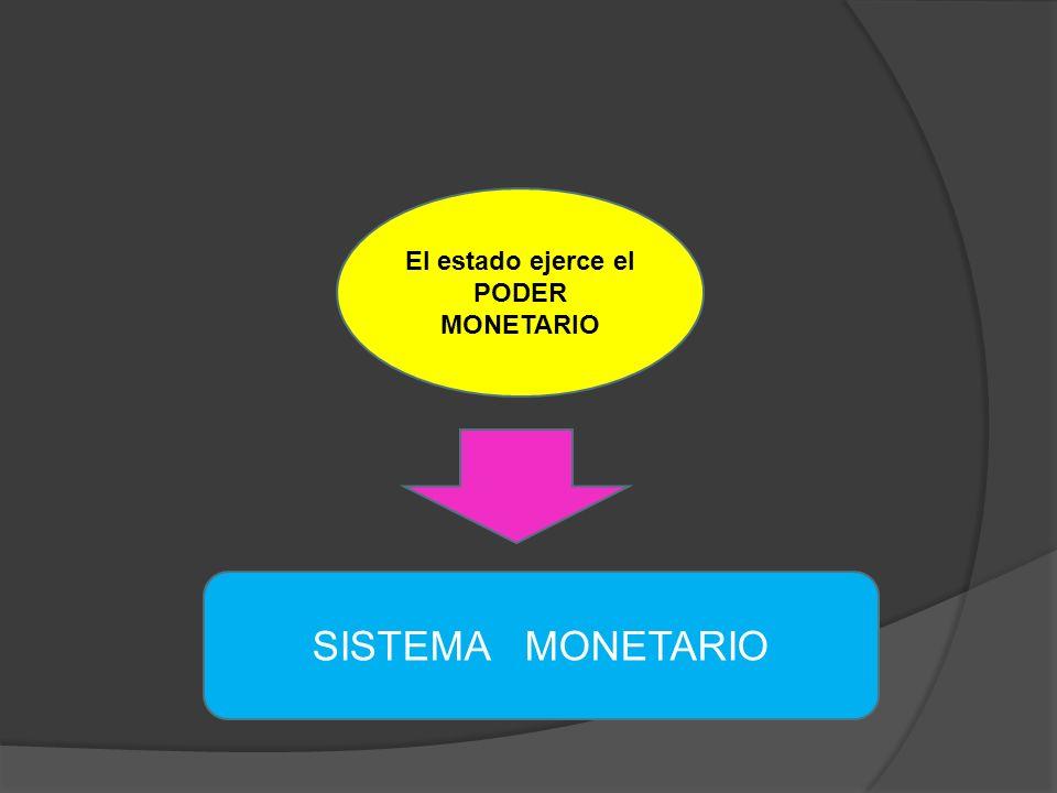 El estado ejerce el PODER MONETARIO SISTEMA MONETARIO