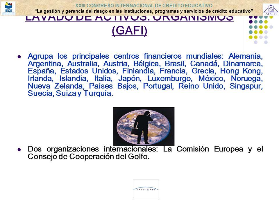LAVADO DE ACTIVOS: ORGANISMOS (GAFI) Agrupa los principales centros financieros mundiales: Alemania, Argentina, Australia, Austria, Bélgica, Brasil, C
