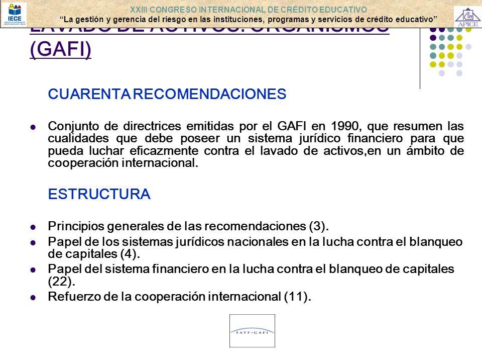 LAVADO DE ACTIVOS: ORGANISMOS (GAFI) CUARENTA RECOMENDACIONES Conjunto de directrices emitidas por el GAFI en 1990, que resumen las cualidades que deb
