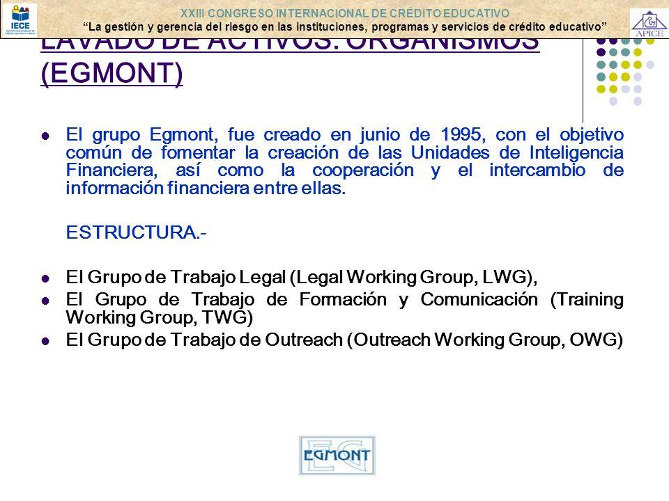 LAVADO DE ACTIVOS: ORGANISMOS (EGMONT) El grupo Egmont, fue creado en junio de 1995, con el objetivo común de fomentar la creación de las Unidades de
