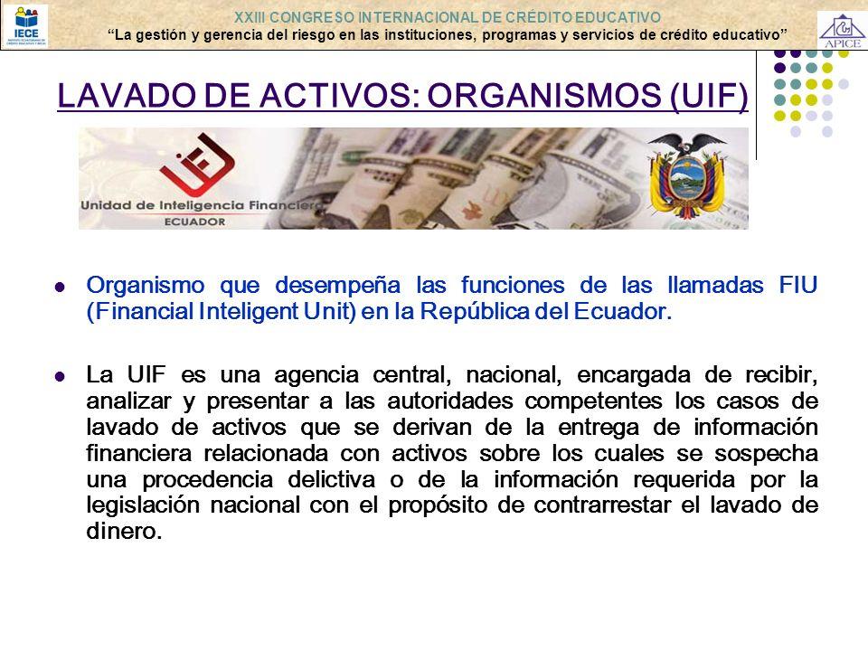LAVADO DE ACTIVOS: ORGANISMOS (UIF) Organismo que desempeña las funciones de las llamadas FIU (Financial Inteligent Unit) en la República del Ecuador.