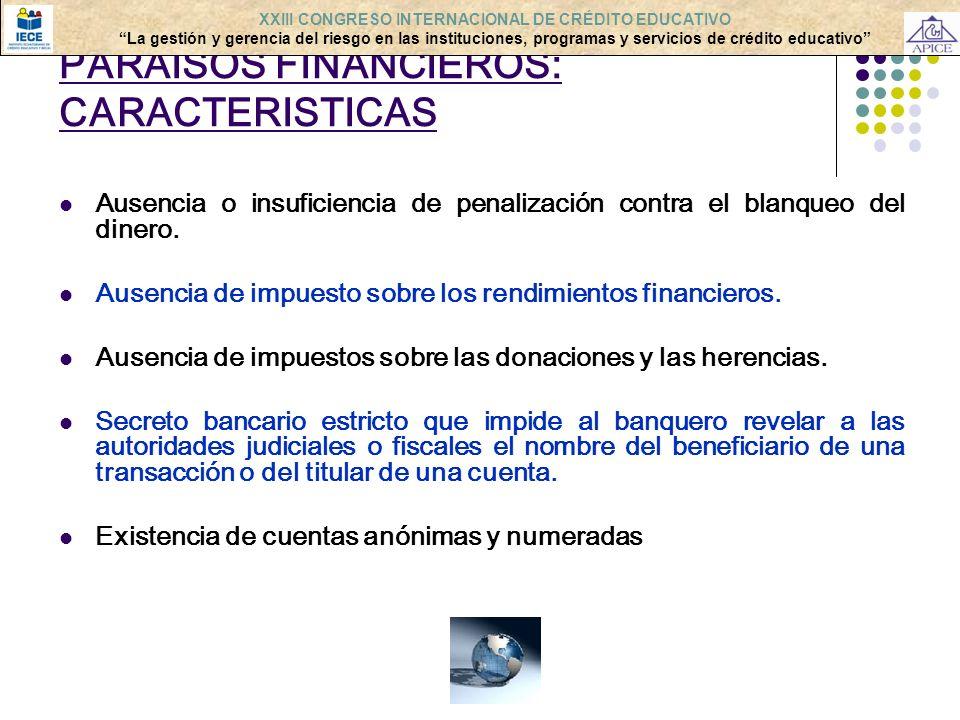 PARAISOS FINANCIEROS: CARACTERISTICAS Ausencia o insuficiencia de penalización contra el blanqueo del dinero. Ausencia de impuesto sobre los rendimien