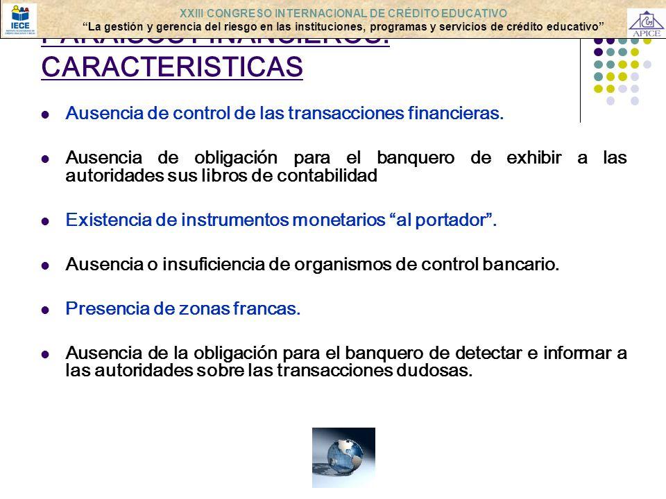 PARAISOS FINANCIEROS: CARACTERISTICAS Ausencia de control de las transacciones financieras. Ausencia de obligación para el banquero de exhibir a las a