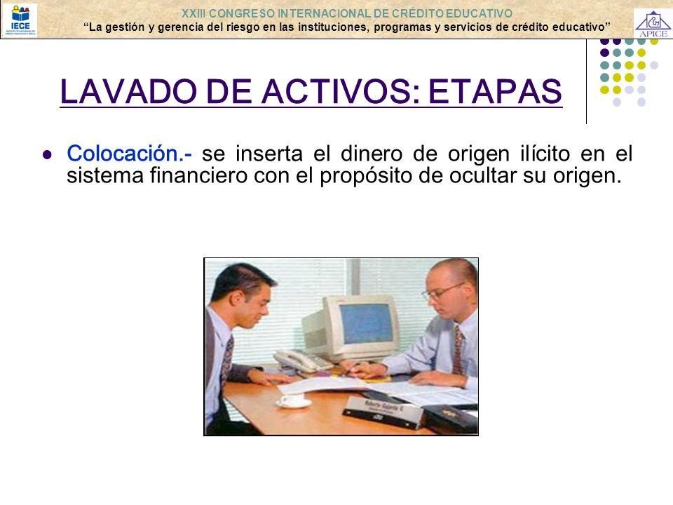LAVADO DE ACTIVOS: ETAPAS Colocación.- se inserta el dinero de origen ilícito en el sistema financiero con el propósito de ocultar su origen. XXIII CO