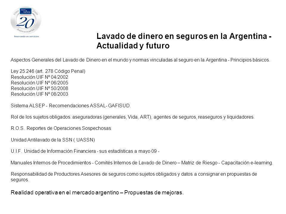 Aspectos Generales del Lavado de Dinero en el mundo y normas vinculadas al seguro en la Argentina - Principios básicos.