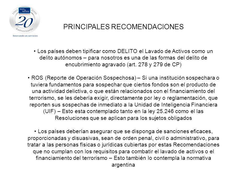 SITUACIÓN EN ARGENTINA Resolución 50/UIF/2008 La Resolución 50/UIF/2008 reglamenta las tres (3) obligaciones básicas – mas actualización - a los sujetos obligados de los inc.