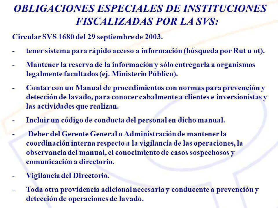 OBLIGACIONES ESPECIALES DE INSTITUCIONES FISCALIZADAS POR LA SVS: Circular SVS 1680 del 29 septiembre de 2003.