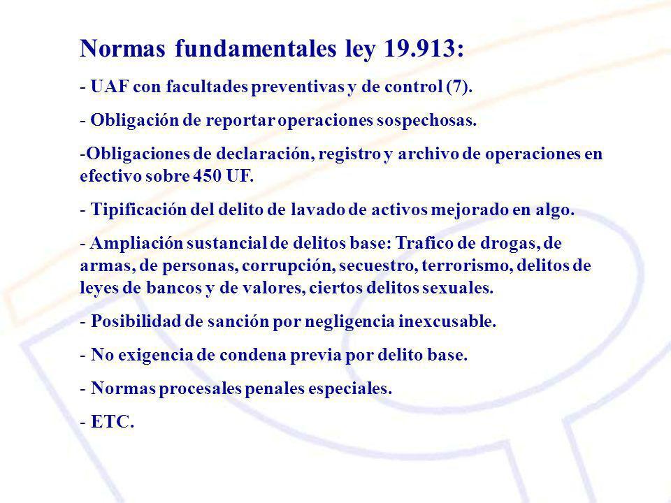 Normas fundamentales ley 19.913: - UAF con facultades preventivas y de control (7).
