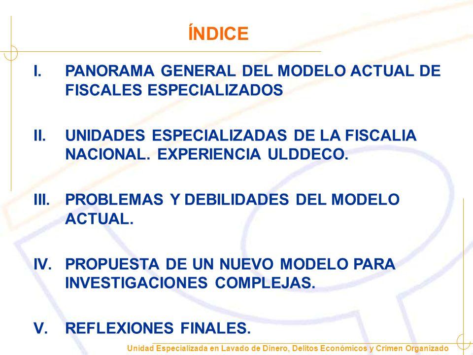 Unidad Especializada en Lavado de Dinero, Delitos Económicos y Crimen Organizado I.PANORAMA GENERAL DEL MODELO ACTUAL DE FISCALES ESPECIALIZADOS CADA FISCALIA REGIONAL ADOPTÓ SU PROPIO MODELO DE FISCALES ESPECIALIZADOS ASIMISMO EXISTEN DISTINTAS MATERIAS DE ESPECIALIDAD SEGÚN SUS REALIDADES LOCALES.