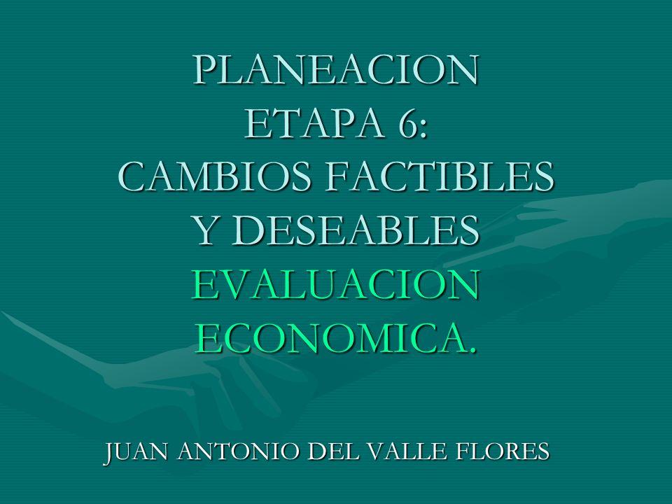 PLANEACION ETAPA 6: CAMBIOS FACTIBLES Y DESEABLES EVALUACION ECONOMICA.