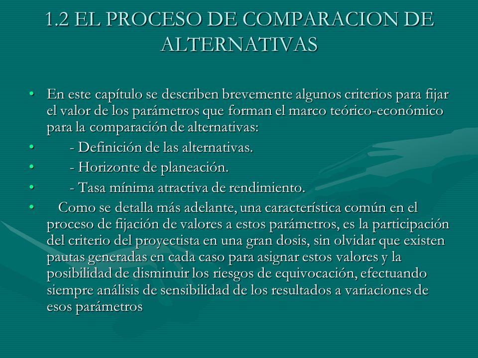 1.2 EL PROCESO DE COMPARACION DE ALTERNATIVAS En este capítulo se describen brevemente algunos criterios para fijar el valor de los parámetros que for