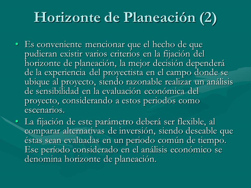 Horizonte de Planeación (2) Es conveniente mencionar que el hecho de que pudieran existir varios criterios en la fijación del horizonte de planeación,