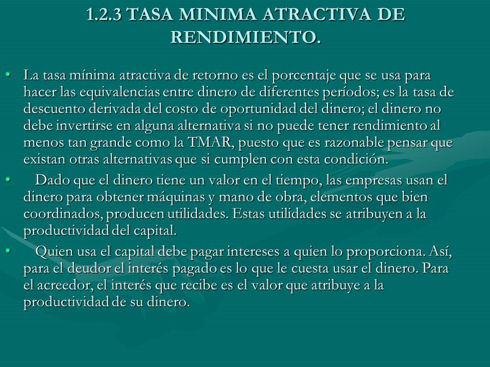 1.2.3 TASA MINIMA ATRACTIVA DE RENDIMIENTO. La tasa mínima atractiva de retorno es el porcentaje que se usa para hacer las equivalencias entre dinero