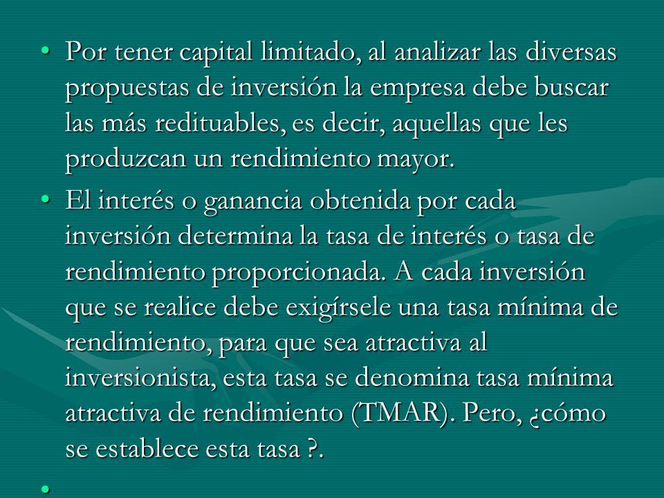 Por tener capital limitado, al analizar las diversas propuestas de inversión la empresa debe buscar las más redituables, es decir, aquellas que les pr