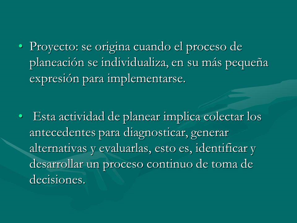 Proyecto: se origina cuando el proceso de planeación se individualiza, en su más pequeña expresión para implementarse.Proyecto: se origina cuando el p