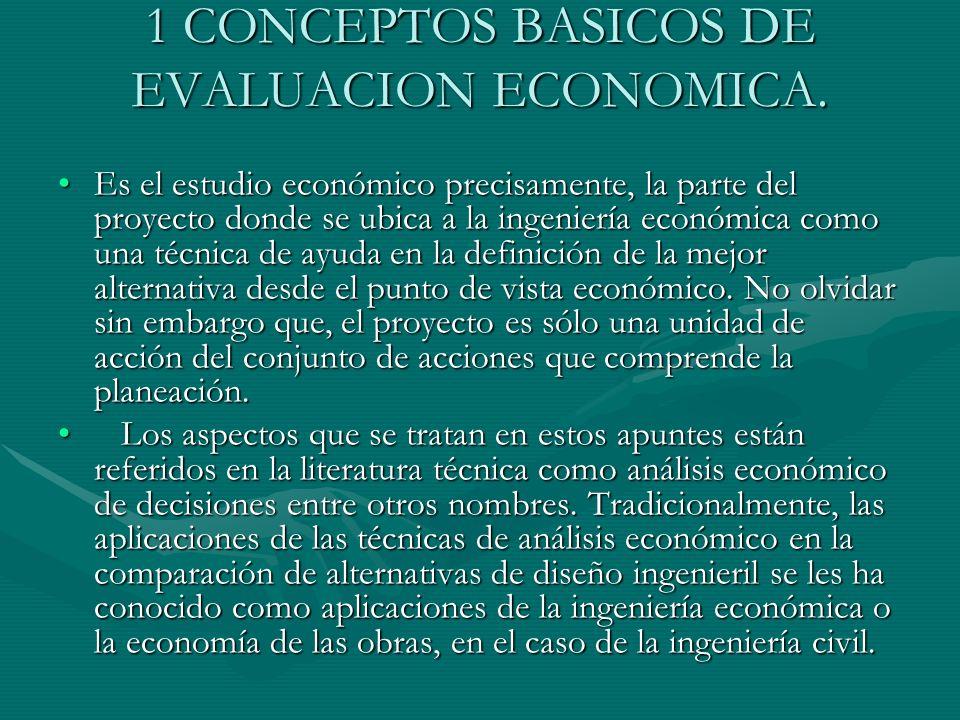 1 CONCEPTOS BASICOS DE EVALUACION ECONOMICA. Es el estudio económico precisamente, la parte del proyecto donde se ubica a la ingeniería económica como